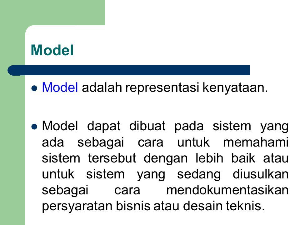 Model Model adalah representasi kenyataan. Model dapat dibuat pada sistem yang ada sebagai cara untuk memahami sistem tersebut dengan lebih baik atau