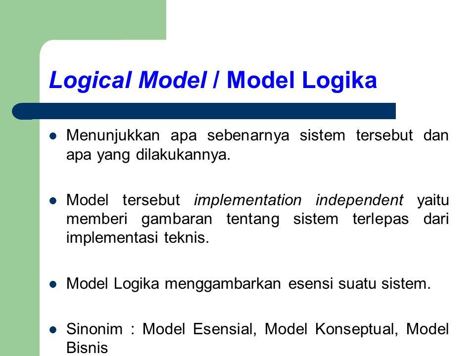 Logical Model / Model Logika Menunjukkan apa sebenarnya sistem tersebut dan apa yang dilakukannya. Model tersebut implementation independent yaitu mem