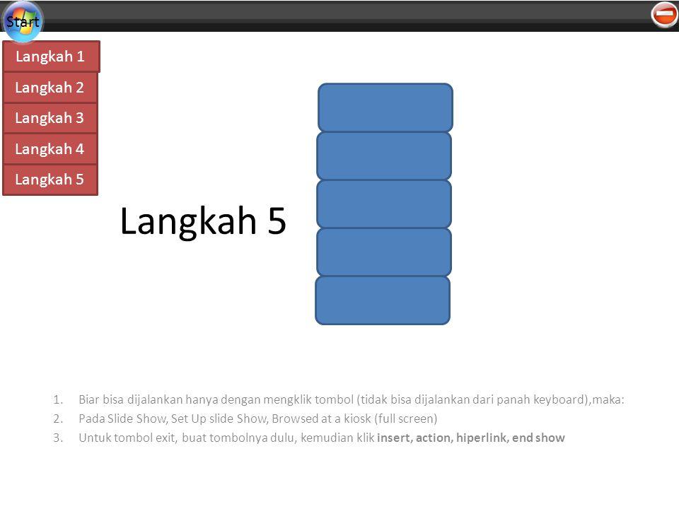 Langkah 4 Langkah 1 Langkah 2 Langkah 3 Langkah 5 Start Langkah 5 1.Biar bisa dijalankan hanya dengan mengklik tombol (tidak bisa dijalankan dari panah keyboard),maka: 2.Pada Slide Show, Set Up slide Show, Browsed at a kiosk (full screen) 3.Untuk tombol exit, buat tombolnya dulu, kemudian klik insert, action, hiperlink, end show