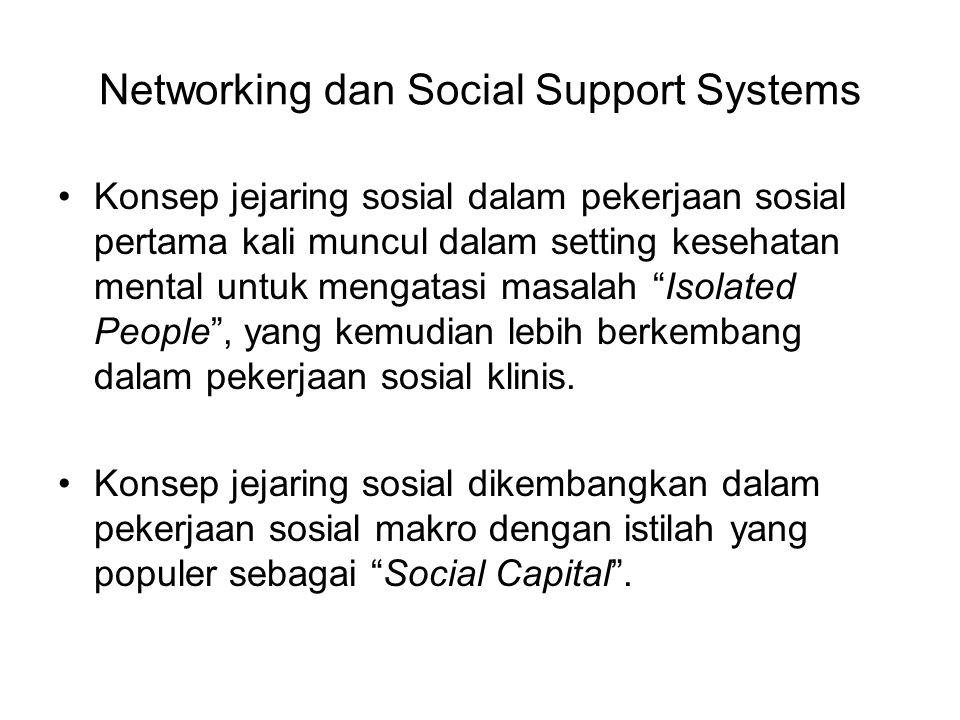 Networking dan Social Support Systems Konsep jejaring sosial dalam pekerjaan sosial pertama kali muncul dalam setting kesehatan mental untuk mengatasi masalah Isolated People , yang kemudian lebih berkembang dalam pekerjaan sosial klinis.