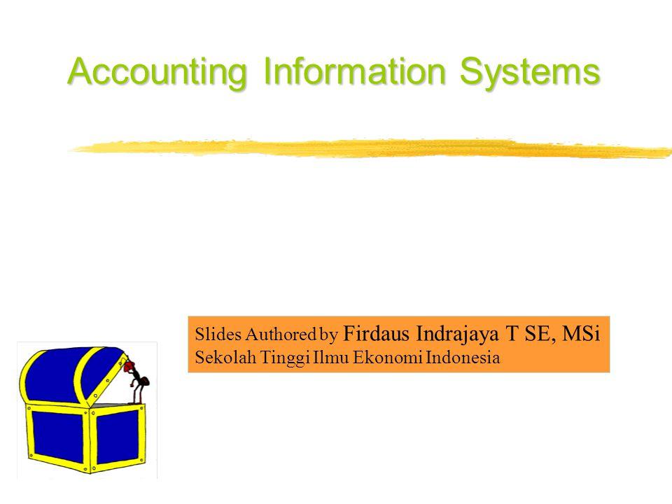 Accounting Information Systems Slides Authored by Firdaus Indrajaya T SE, MSi Sekolah Tinggi Ilmu Ekonomi Indonesia