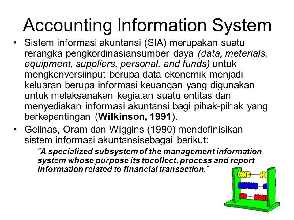 Accounting Information System Sistem informasi akuntansi (SIA) merupakan suatu rerangka pengkordinasiansumber daya (data, meterials, equipment, suppli