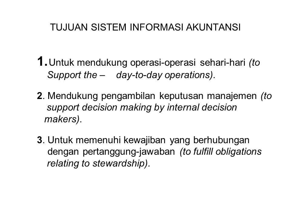 TUJUAN SISTEM INFORMASI AKUNTANSI 1. Untuk mendukung operasi-operasi sehari-hari (to Support the – day-to-day operations). 2. Mendukung pengambilan ke