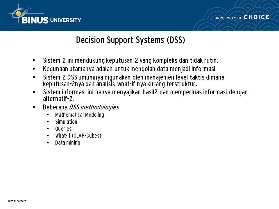 Bina Nusantara Decision Support Systems (DSS) Sistem-2 ini mendukung keputusan-2 yang kompleks dan tidak rutin. Kegunaan utamanya adalah untuk mengola