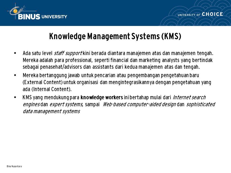 Bina Nusantara Knowledge Management Systems (KMS) Ada satu level staff support kini berada diantara manajemen atas dan manajemen tengah. Mereka adalah