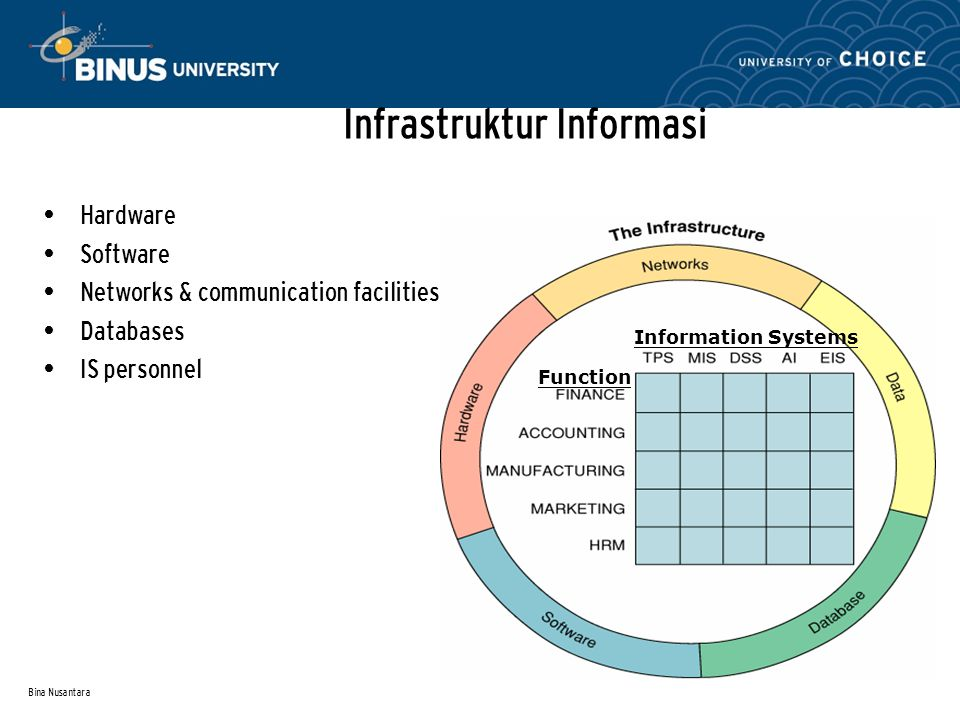 Bina Nusantara Information Systems Function Infrastruktur Informasi Hardware Software Networks & communication facilities Databases IS personnel