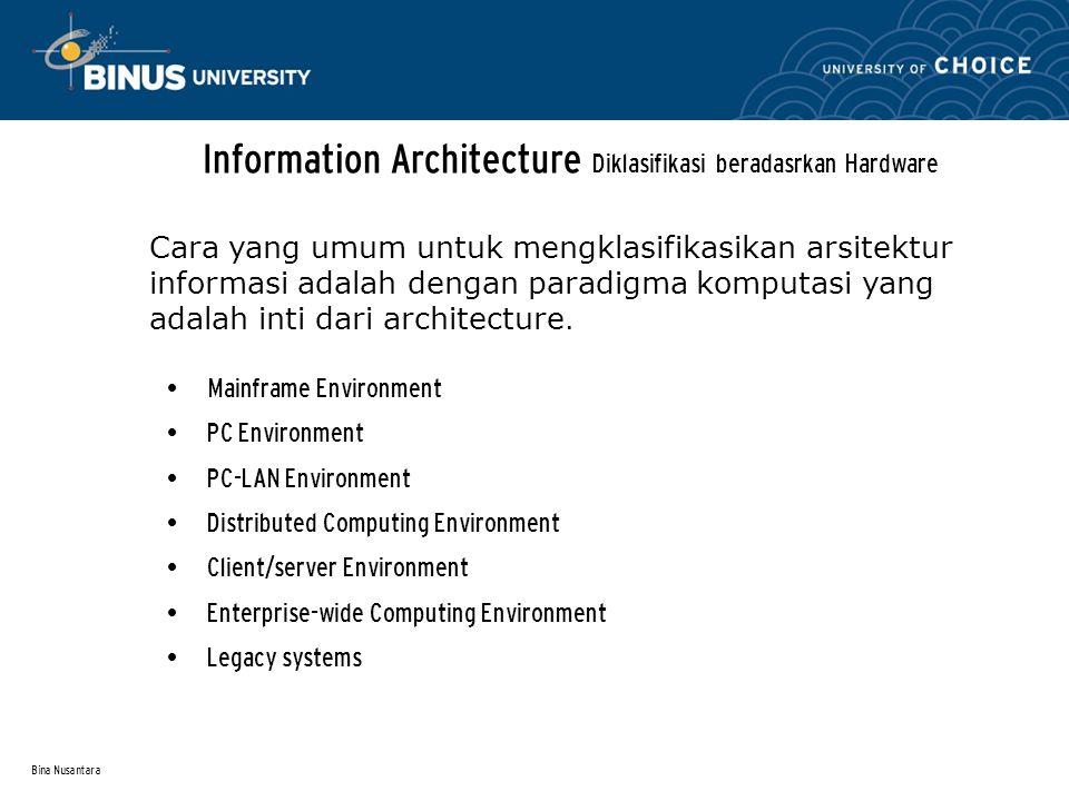 Bina Nusantara Information Architecture Diklasifikasi beradasrkan Hardware Mainframe Environment PC Environment PC-LAN Environment Distributed Computi