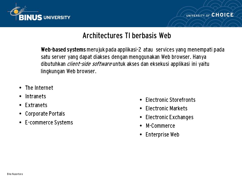 Bina Nusantara Architectures TI berbasis Web The Internet Intranets Extranets Corporate Portals E-commerce Systems Web-based systems merujuk pada appl