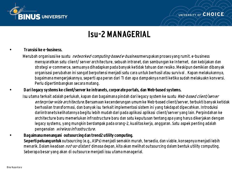 Bina Nusantara Isu-2 MANAGERIAL Transisi ke e-business. Merubah organisasi ke suatu networked-computing-based e-business merupakan proses yang rumit.