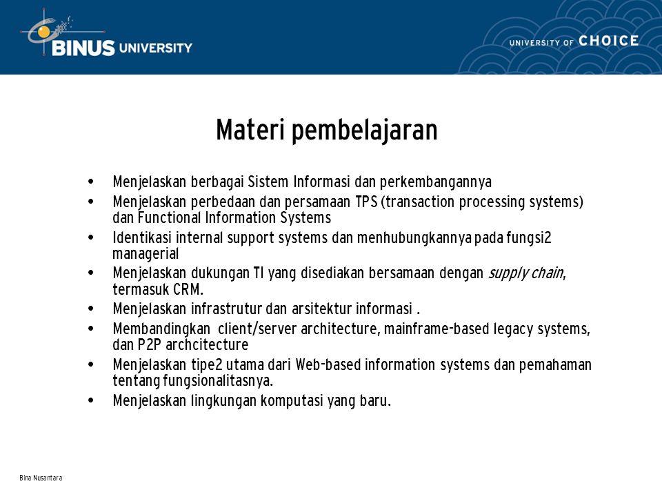 Bina Nusantara Information System : Konsep dan Definisi Hardware Software Data Network Procedures People Hardware Software People Data Applikasi Suatu sistem informasi (SI) mengumpulkan, memproses, menyimpan, menganalisis, dan menyebarkan informasi untuk tujuan tertentu Application .