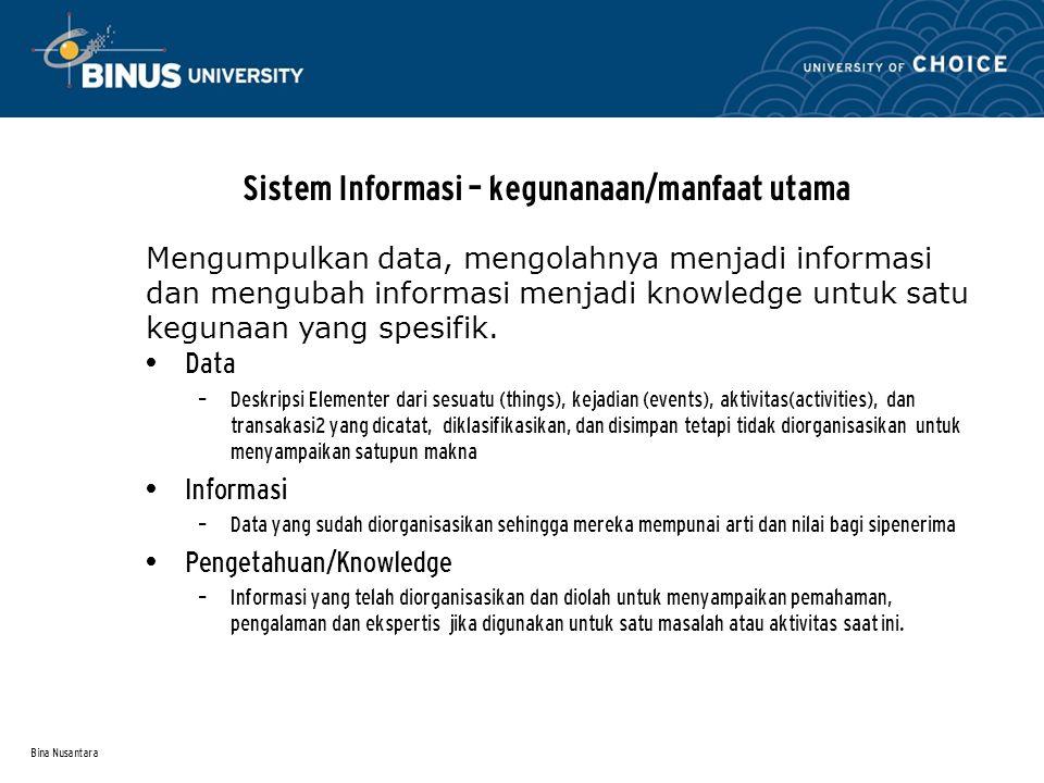 Bina Nusantara Sistem Informasi – berdasarkan Struktur Organisasi SI Departmental SI Enterprise-Wide SI Inter-Organizational Suatu Sistem Informasi (SI) dapat tersebar ke departemen-2, unit-2 business dan korporasi-2.