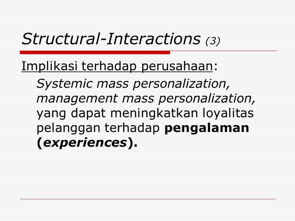 Structural-Interactions (3) Implikasi terhadap perusahaan: Systemic mass personalization, management mass personalization, yang dapat meningkatkan loy
