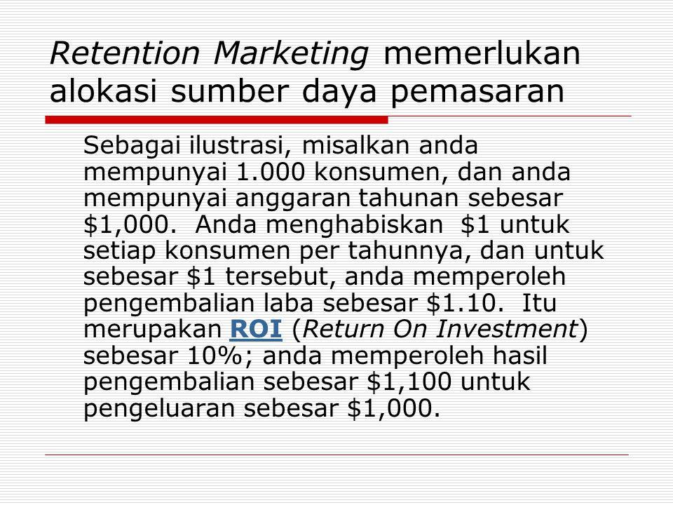Retention Marketing memerlukan alokasi sumber daya pemasaran Sebagai ilustrasi, misalkan anda mempunyai 1.000 konsumen, dan anda mempunyai anggaran ta