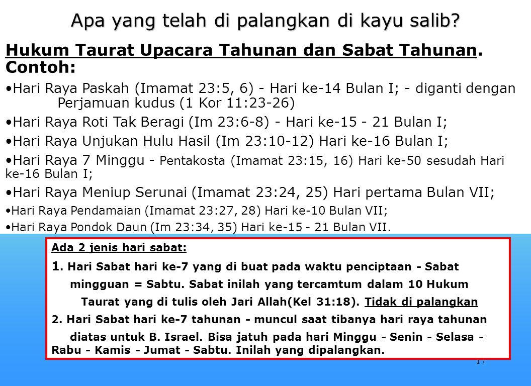 16 Apa yang telah di palangkan di kayu salib? Hari-hari Raya ini hanyalah bayangan yang wujudnya adalah Yesus Kristus. MENGAPA HARI-HARI RAYA INI DIBE