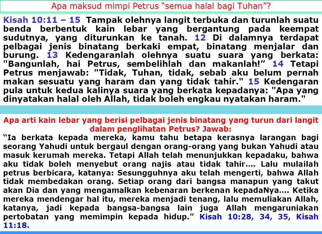 18 Apa yang telah di palangkan di kayu salib? Semua hukum taurat yang mengatur upacara di kaabah dimana wujudnya adalah Yesus Kristus termasuk Sunat.