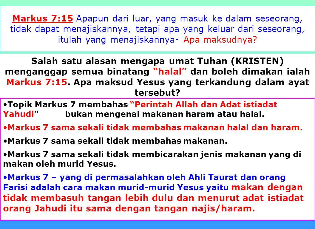 21 Apa yang alkitab katakan tentang orang yang makan babi pada saat kedatangan Yesus ke dua kali? Jesaya 66:15. Sebab sesungguhnya, TUHAN akan datang