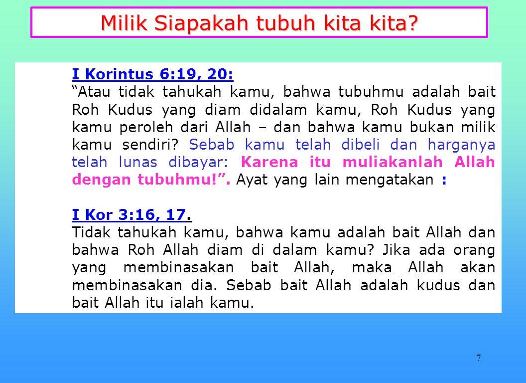 27 Tubuhmu adalah kaabah Allah, muliakan Dia dengan Tubuhmu.