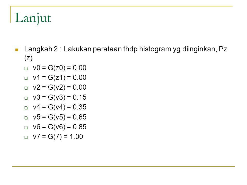 Lanjut Langkah 2 : Lakukan perataan thdp histogram yg diinginkan, Pz (z)  v0 = G(z0) = 0.00  v1 = G(z1) = 0.00  v2 = G(v2) = 0.00  v3 = G(v3) = 0.