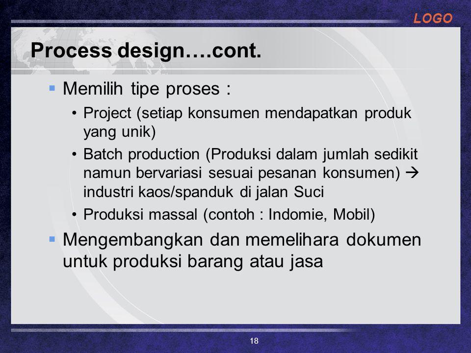 LOGO Process design….cont.  Memilih tipe proses : Project (setiap konsumen mendapatkan produk yang unik) Batch production (Produksi dalam jumlah sedi