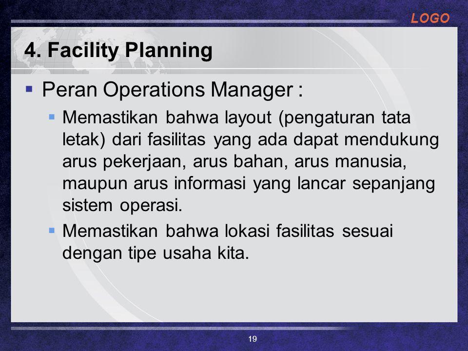 LOGO 4. Facility Planning  Peran Operations Manager :  Memastikan bahwa layout (pengaturan tata letak) dari fasilitas yang ada dapat mendukung arus