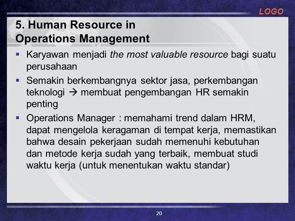 LOGO 5. Human Resource in Operations Management  Karyawan menjadi the most valuable resource bagi suatu perusahaan  Semakin berkembangnya sektor jas