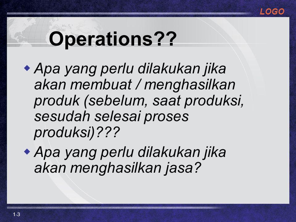 LOGO 1-3 Operations??  Apa yang perlu dilakukan jika akan membuat / menghasilkan produk (sebelum, saat produksi, sesudah selesai proses produksi)???