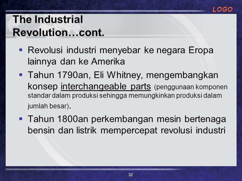 LOGO The Industrial Revolution…cont.  Revolusi industri menyebar ke negara Eropa lainnya dan ke Amerika  Tahun 1790an, Eli Whitney, mengembangkan ko