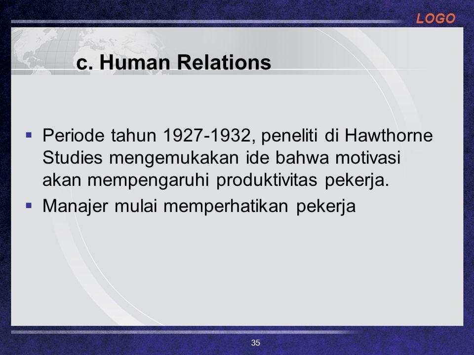 LOGO c. Human Relations  Periode tahun 1927-1932, peneliti di Hawthorne Studies mengemukakan ide bahwa motivasi akan mempengaruhi produktivitas peker