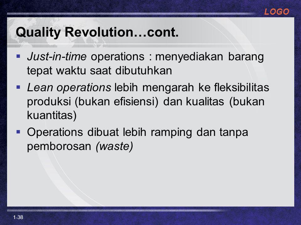 LOGO Quality Revolution…cont.  Just-in-time operations : menyediakan barang tepat waktu saat dibutuhkan  Lean operations lebih mengarah ke fleksibil