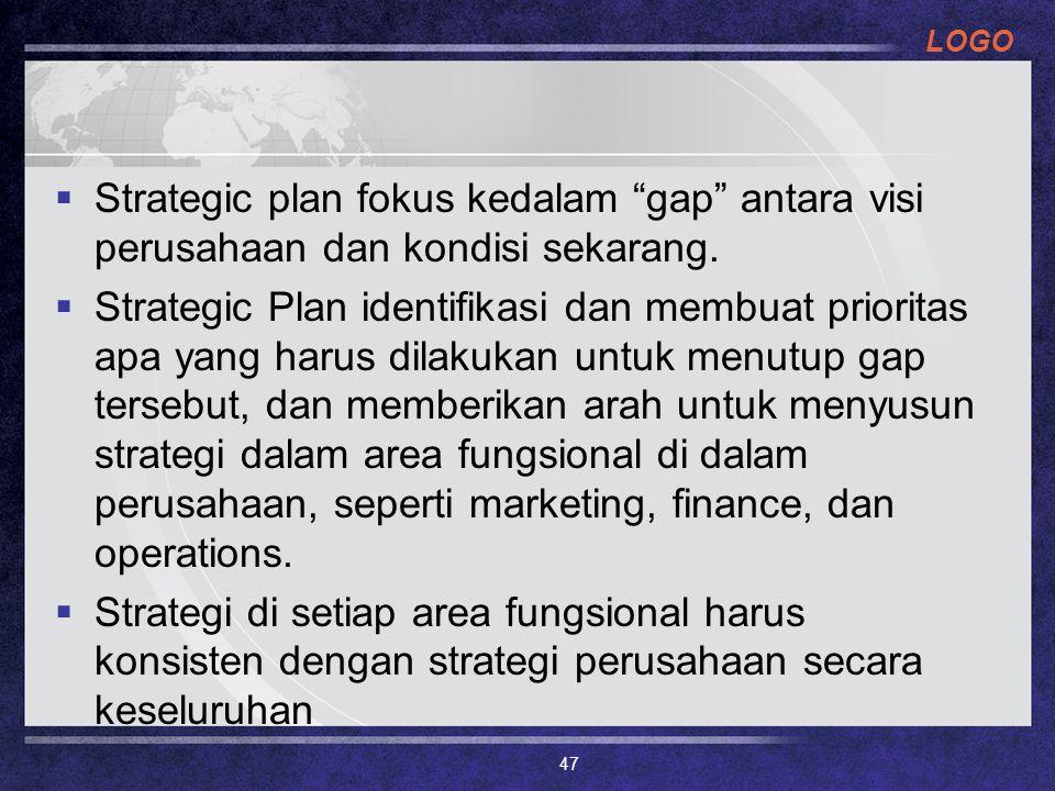 """LOGO  Strategic plan fokus kedalam """"gap"""" antara visi perusahaan dan kondisi sekarang.  Strategic Plan identifikasi dan membuat prioritas apa yang ha"""
