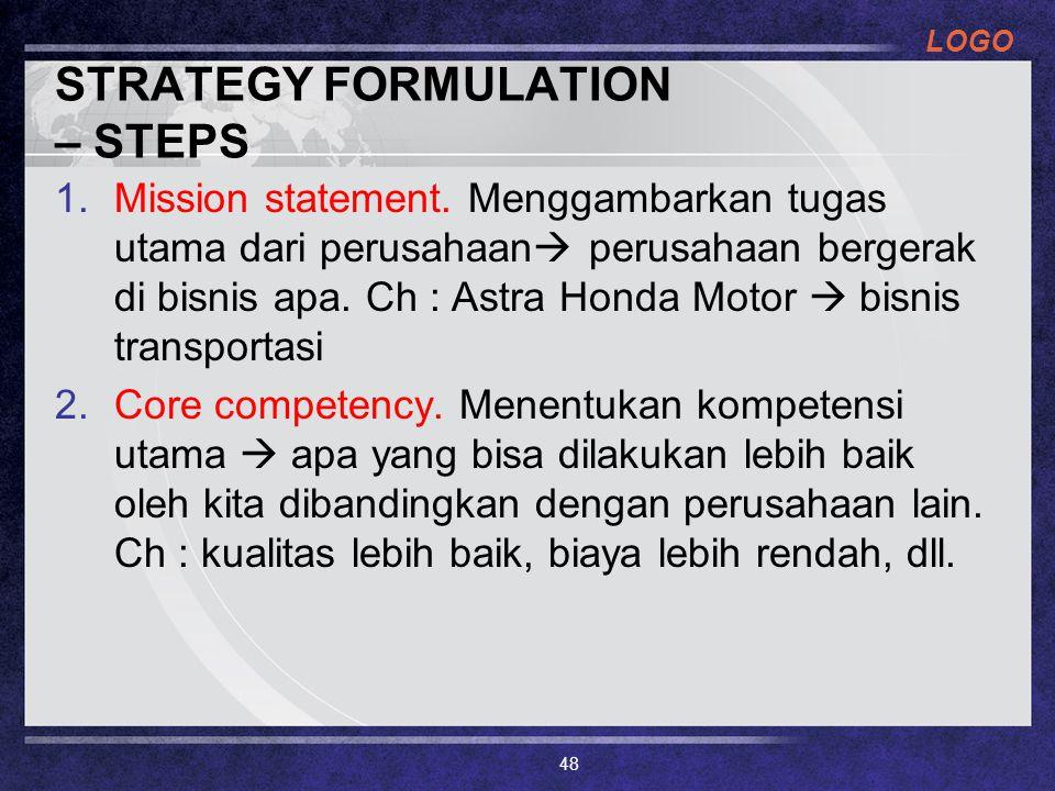 LOGO STRATEGY FORMULATION – STEPS 1.Mission statement. Menggambarkan tugas utama dari perusahaan  perusahaan bergerak di bisnis apa. Ch : Astra Honda