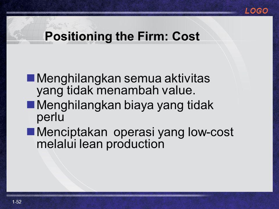 LOGO 1-52 Positioning the Firm: Cost Menghilangkan semua aktivitas yang tidak menambah value. Menghilangkan biaya yang tidak perlu Menciptakan operasi