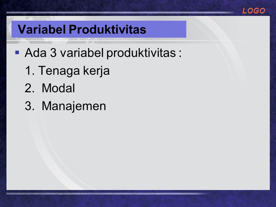 LOGO Variabel Produktivitas  Ada 3 variabel produktivitas : 1. Tenaga kerja 2. Modal 3. Manajemen