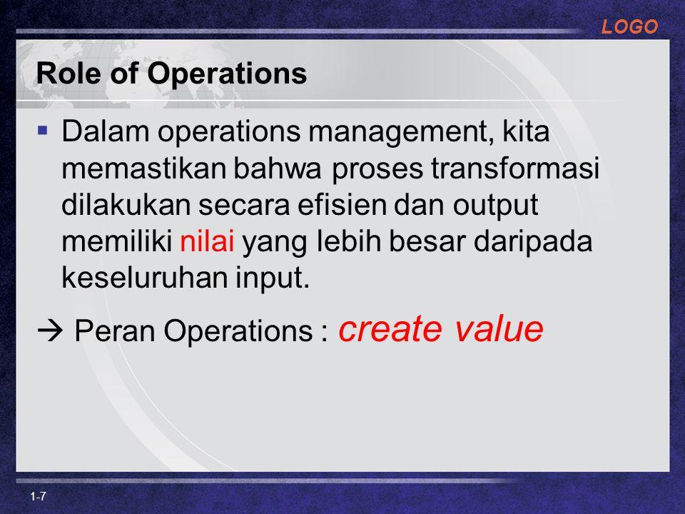 LOGO Role of Operations  Dalam operations management, kita memastikan bahwa proses transformasi dilakukan secara efisien dan output memiliki nilai ya