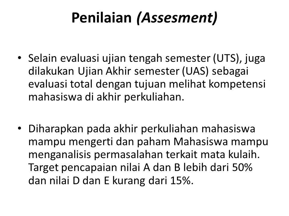 Penilaian (Assesment) Selain evaluasi ujian tengah semester (UTS), juga dilakukan Ujian Akhir semester (UAS) sebagai evaluasi total dengan tujuan melihat kompetensi mahasiswa di akhir perkuliahan.