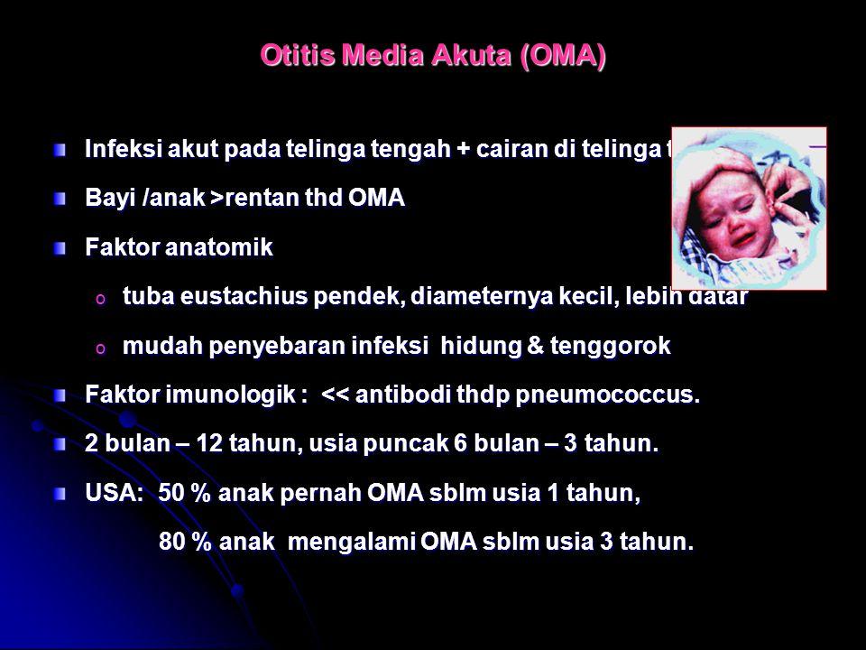 Otitis Media Akuta (OMA) Infeksi akut pada telinga tengah + cairan di telinga tengah. Bayi /anak >rentan thd OMA Faktor anatomik o tuba eustachius pen