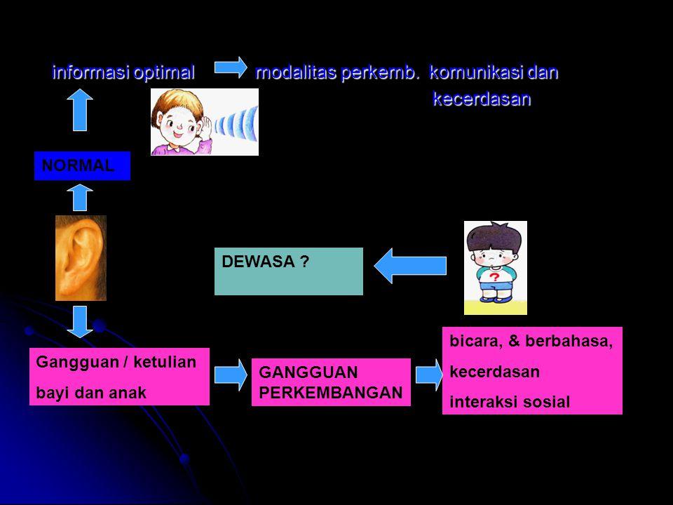 informasi optimal modalitas perkemb. komunikasi dan informasi optimal modalitas perkemb. komunikasi dan kecerdasan kecerdasan Gangguan / ketulian bayi