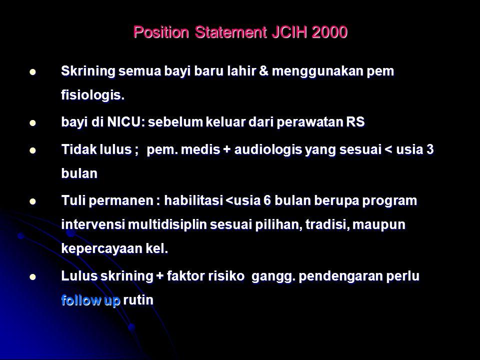 Position Statement JCIH 2000 Skrining semua bayi baru lahir & menggunakan pem fisiologis. Skrining semua bayi baru lahir & menggunakan pem fisiologis.