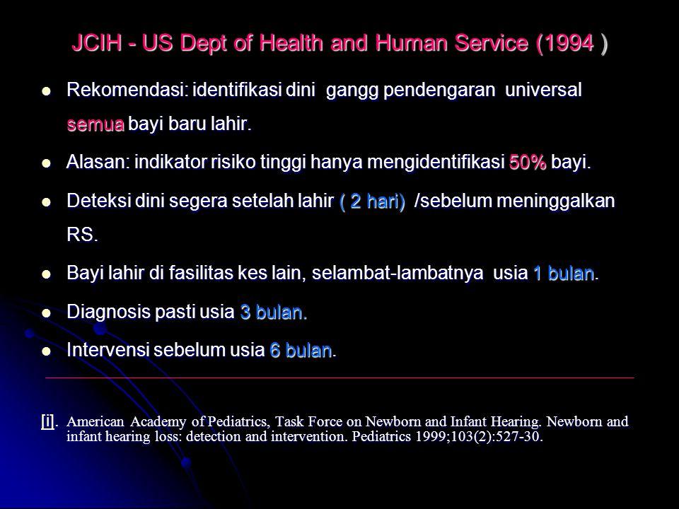 JCIH - US Dept of Health and Human Service (1994 ) Rekomendasi: identifikasi dini gangg pendengaran universal semua bayi baru lahir. Rekomendasi: iden