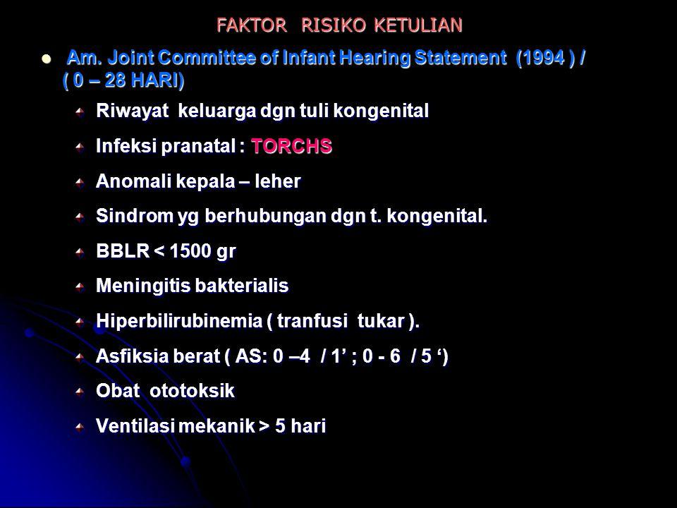 FAKTOR RISIKO KETULIAN Am. Joint Committee of Infant Hearing Statement (1994 ) / Am. Joint Committee of Infant Hearing Statement (1994 ) / ( 0 – 28 HA