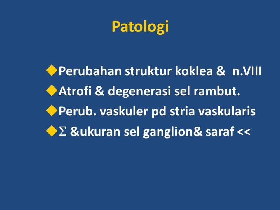 Patologi  Perubahan struktur koklea & n.VIII  Atrofi & degenerasi sel rambut.  Perub. vaskuler pd stria vaskularis   &ukuran sel ganglion& saraf