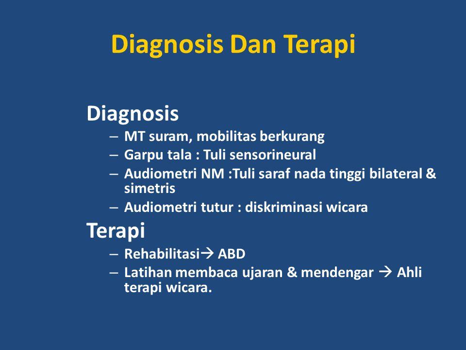 Diagnosis Dan Terapi Diagnosis – MT suram, mobilitas berkurang – Garpu tala : Tuli sensorineural – Audiometri NM :Tuli saraf nada tinggi bilateral & s