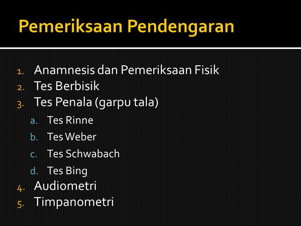 1. Anamnesis dan Pemeriksaan Fisik 2. Tes Berbisik 3. Tes Penala (garpu tala) a. Tes Rinne b. Tes Weber c. Tes Schwabach d. Tes Bing 4. Audiometri 5.