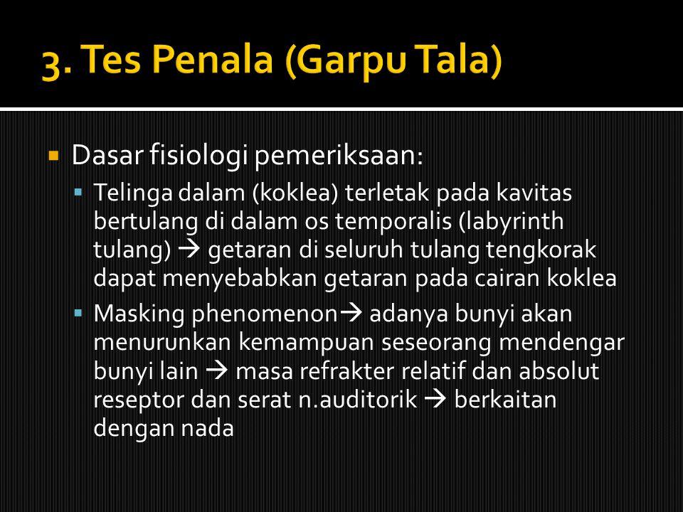  Dasar fisiologi pemeriksaan:  Telinga dalam (koklea) terletak pada kavitas bertulang di dalam os temporalis (labyrinth tulang)  getaran di seluruh