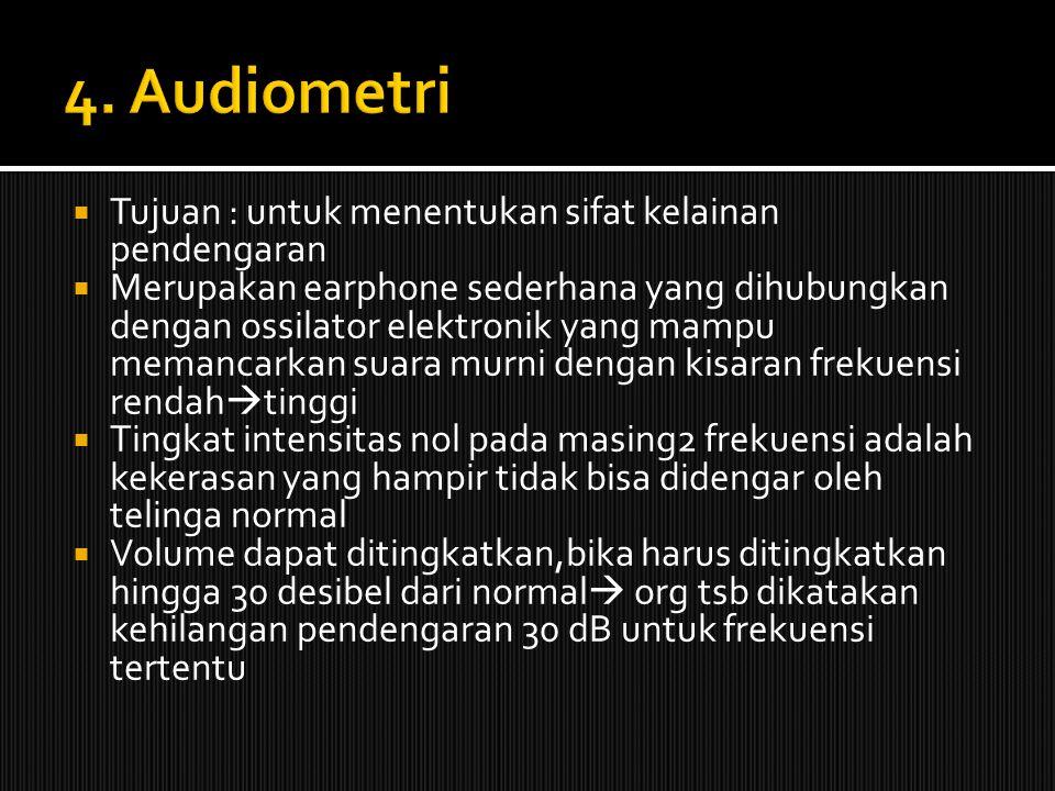  Tujuan : untuk menentukan sifat kelainan pendengaran  Merupakan earphone sederhana yang dihubungkan dengan ossilator elektronik yang mampu memancar