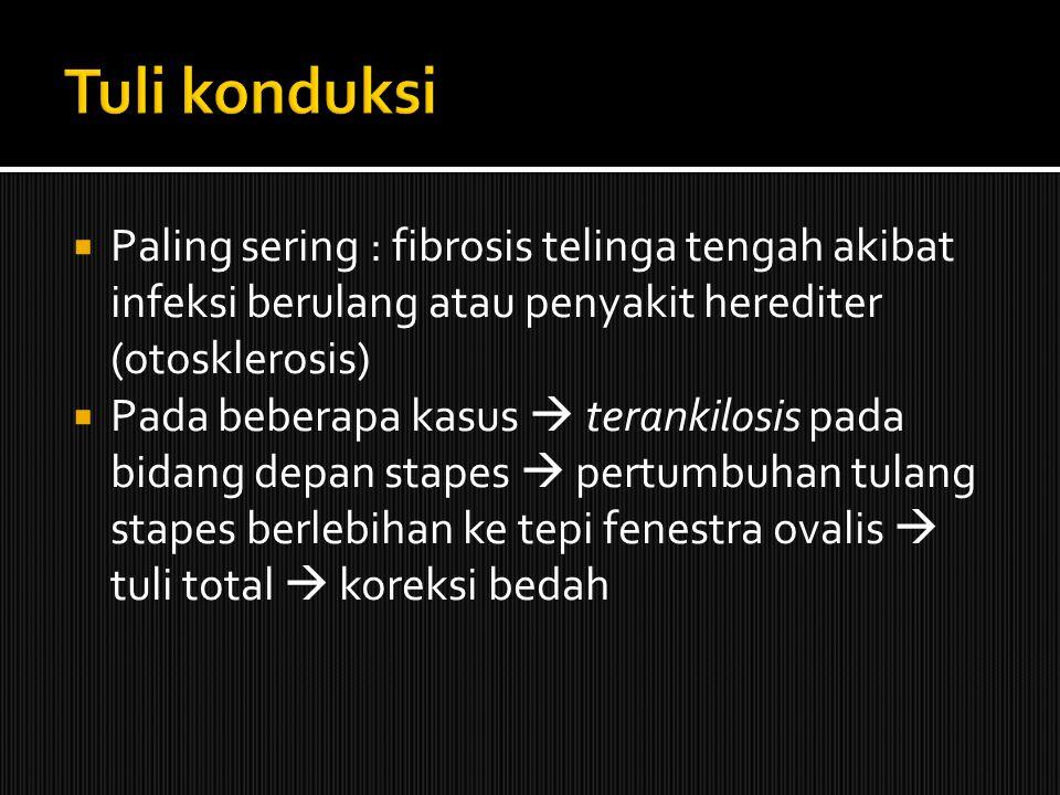  Paling sering : fibrosis telinga tengah akibat infeksi berulang atau penyakit herediter (otosklerosis)  Pada beberapa kasus  terankilosis pada bid
