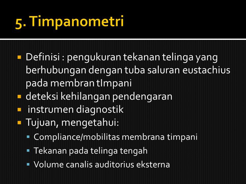  Definisi : pengukuran tekanan telinga yang berhubungan dengan tuba saluran eustachius pada membran tImpani  deteksi kehilangan pendengaran  instru