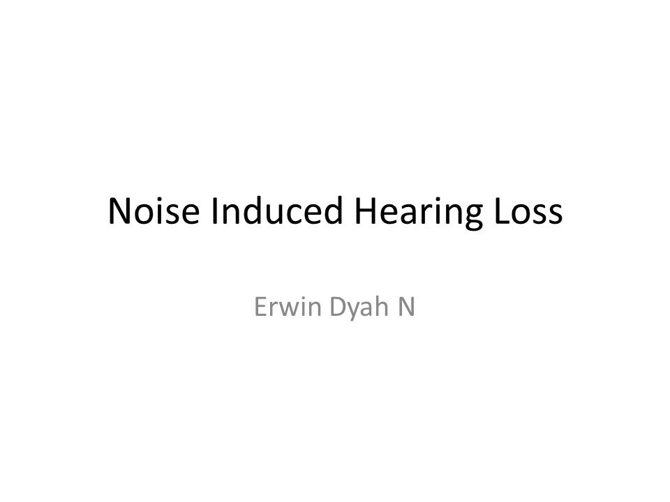 Noise Induced Hearing Loss Erwin Dyah N