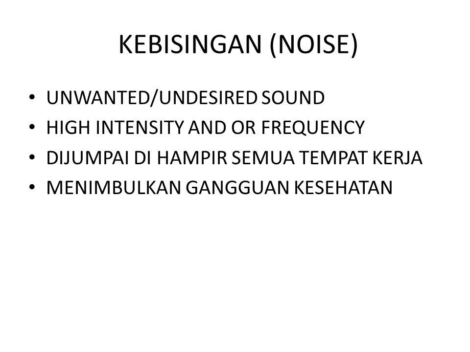 KEBISINGAN (NOISE) UNWANTED/UNDESIRED SOUND HIGH INTENSITY AND OR FREQUENCY DIJUMPAI DI HAMPIR SEMUA TEMPAT KERJA MENIMBULKAN GANGGUAN KESEHATAN