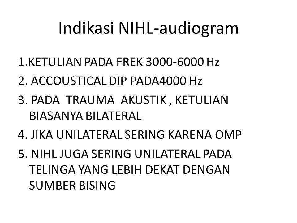 Indikasi NIHL-audiogram 1.KETULIAN PADA FREK 3000-6000 Hz 2. ACCOUSTICAL DIP PADA4000 Hz 3. PADA TRAUMA AKUSTIK, KETULIAN BIASANYA BILATERAL 4. JIKA U